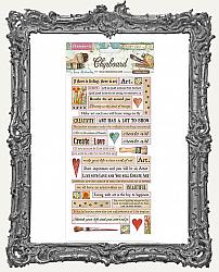 Stamperia Adhesive Chipboard - Atelier Quotes