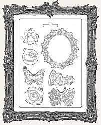 Stamperia A5 Soft Texture Impression Mould - Circle Of Love Frame and Butterfly