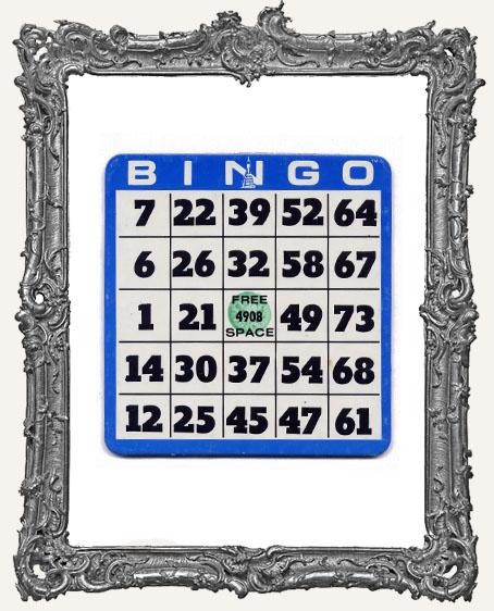 Heavy Cardboard Vintage Bingo Card - Blue