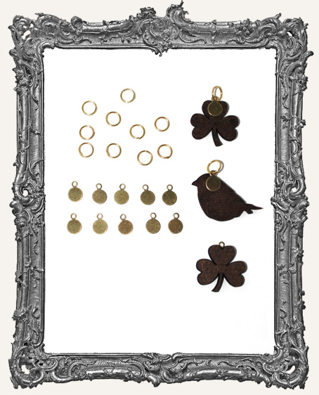 6mm Cabochon Tags and Jump Rings Silver or Brass - Pack of 20