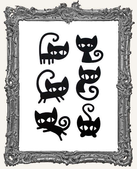 Mischievous Black Cat Cut-Outs - 6 Pieces