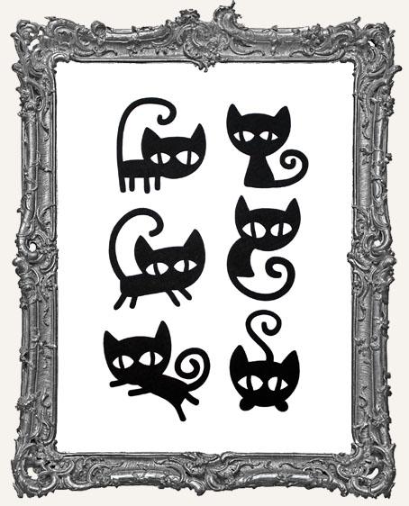 Mischievous Black Cat Cut-Outs - 6 Pieces
