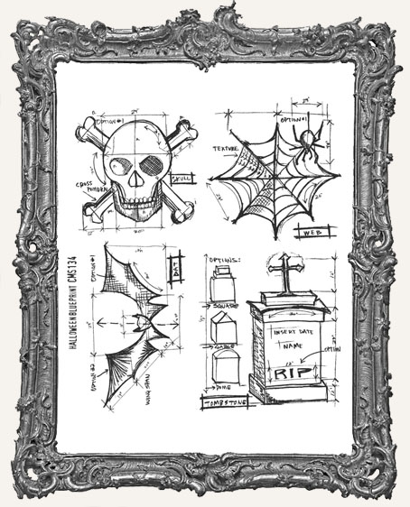 Tim Holtz Cling Mounted Stamp Set - Halloween Blueprint