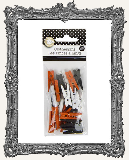 Mini Clothespins - Halloween Orange, White and Black - 25 pieces