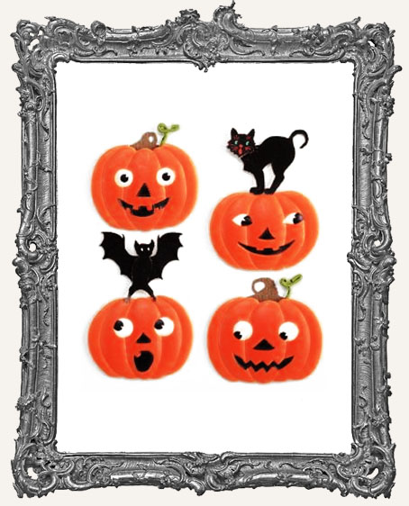 Bat and Cat Pumpkins Dimensional Embellishments - 4 Pieces
