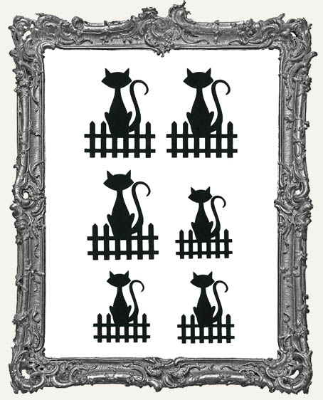 Cats On Fences Cut-Outs - 6 Pieces