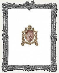 Miniature Picture In Standing Antique Metal Frame
