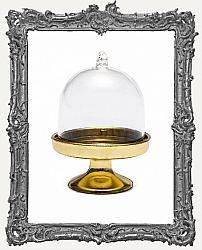 Mini Plastic Cloche Display Stand Including Masonite Base - Gold Base
