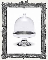 Mini Plastic Cloche Display Stand Including Masonite Base - Silver Base