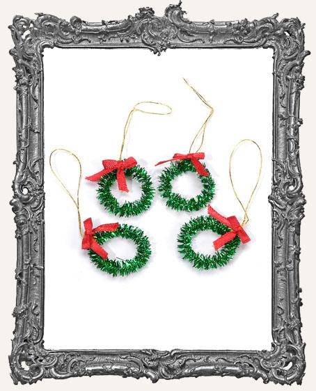 Mini Green Tinsel Wreaths - Set of 4