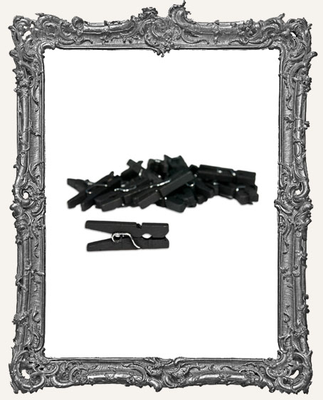 Mini Clothespins - Black - 25 pieces