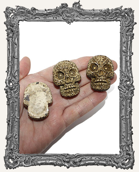 Large Textured Resin Sugar Skull Cabochon