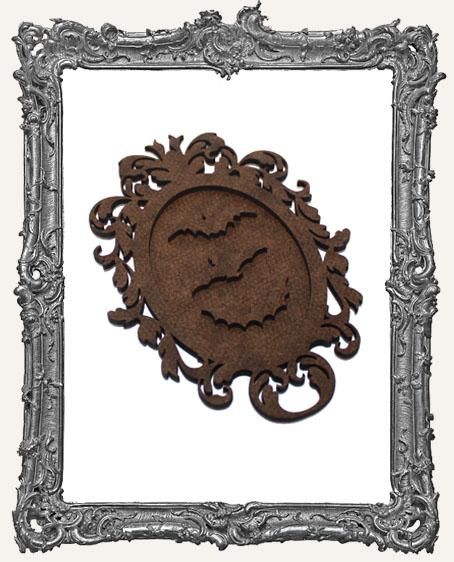 Victorian Halloween Cameo Frame Silhouette Ornament - Bats