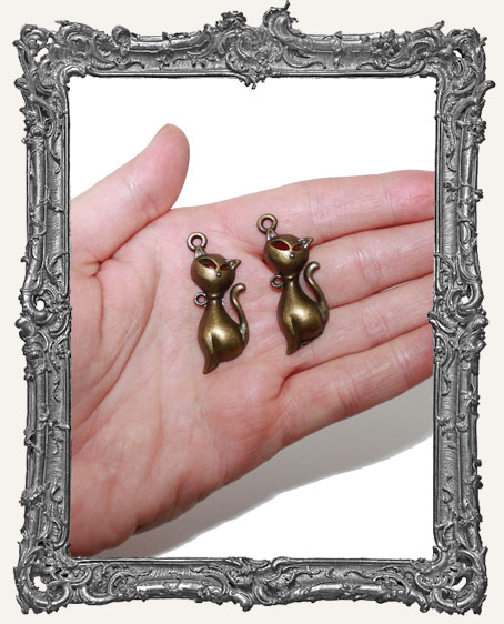 Antique Brass Cat Charms - Set of 2