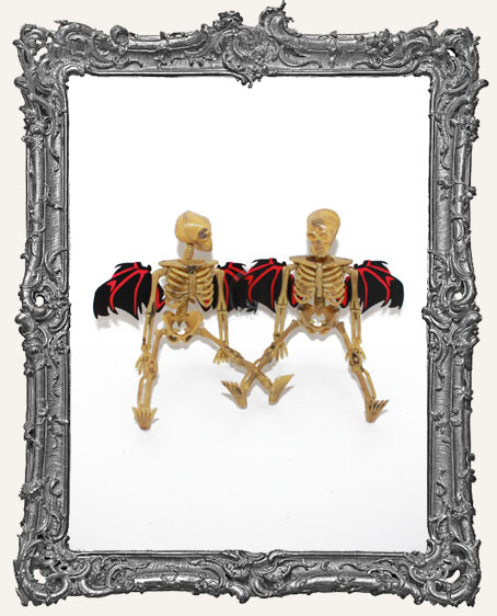 Plastic Graveyard Skeleton with Bat Wings - Set of 2