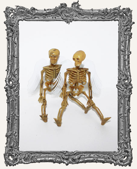 Plastic Graveyard Skeleton with Angel Wings - Set of 2