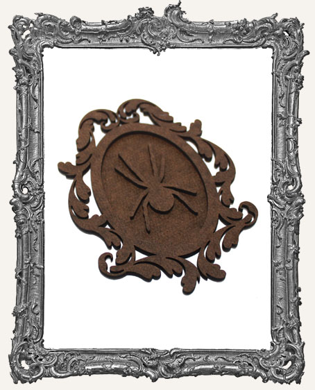 Victorian Halloween Cameo Frame Silhouette Ornament - Spider