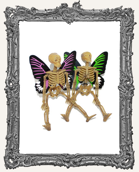 Plastic Graveyard Skeleton with Butterfly Wings - Set of 2
