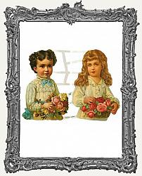 German Scrap - Victorian Boy and Girl with Bouquets