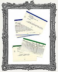 Old Library Catalog Cards - Pack of 10 - Colored Tops