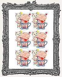 6 Large Sweet Vintage Kitty Ice Cream Float Paper Cuts