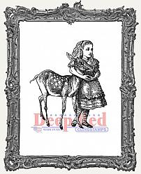 Alice and Deer Deep Red Cling Stamp