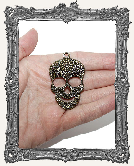 Antique Brass Large Textured Sugar Skull Pendant Charm - 1 Piece