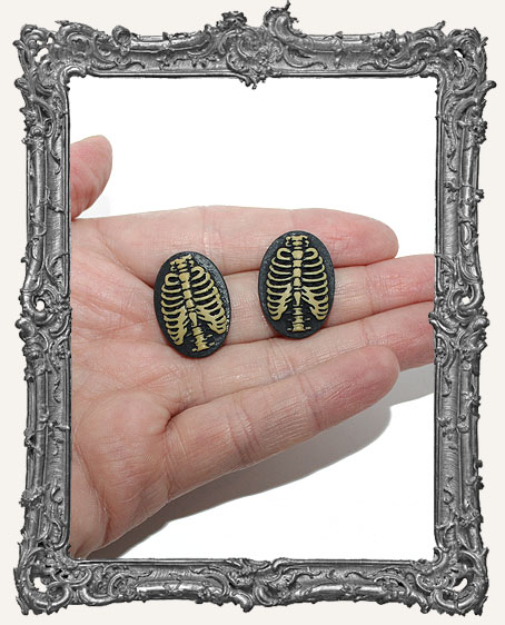 18x25mm Resin Cameo - Rib Cage - Set of 2