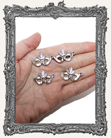 Antique Silver Halloween Face Mask Charm - Set of 2
