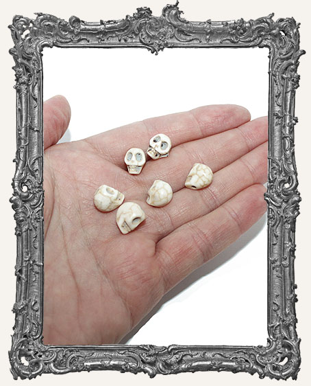 SMALL Carved Stone Ivory Skull Beads - Set of 6