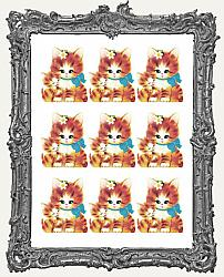 9 Large Sweet Vintage Kitty Orange Cat and Kitten Paper Cuts