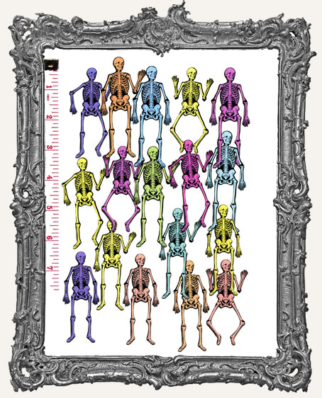17 Vintage Skeleton Paper Cuts - Colored