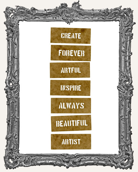 Mini Stencil Words Set of 7 - Create