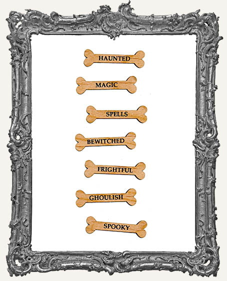 Halloween Engraved Wood Word Bones - 8 Pieces
