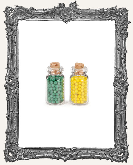 Miniature 1 Inch Filled Jars with Cork Lids - 2 pieces
