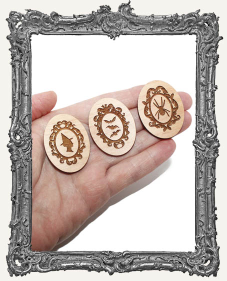 Halloween Mix Engraved Wood Cameos - Set of 3