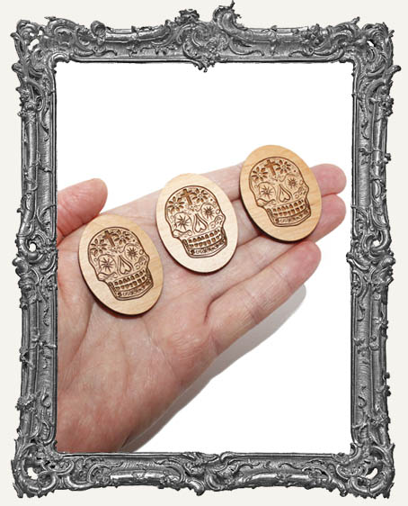 Sugar Skull Engraved Wood Cameos - Set of 3