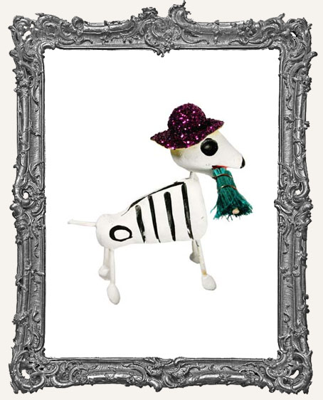 Dia De Los Muertos Skeleton Dog With Glitter Hat