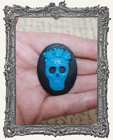 30x40mm Resin Cameo - Blue Sugar Skull