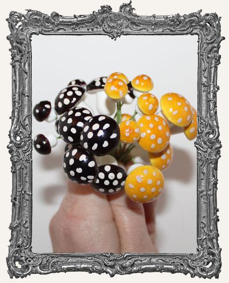 German Cotton Spun Fairy Mushrooms Black or Orange - 2 Sizes