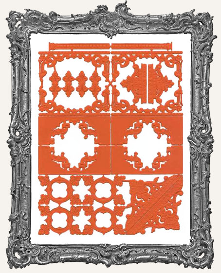 German Dresden ORANGE Victorian Corners and Frames 24 Piece