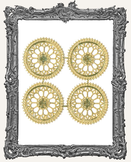 German Dresden Large GOLD Ornate Rosettes 4 Piece