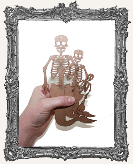 Chipboard Mermaid Skeletons with Curved Tails - Set of 3