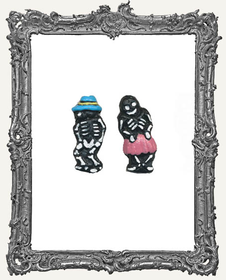 Day of the Dead Senor and Senorita Skeleton Beads - 1 Pair