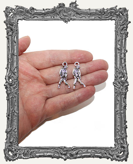 Antique Silver Zombie Charms - Set of 2