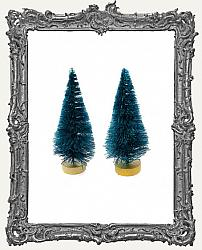 3 Inch Green Bottle Brush Trees - Set of 2
