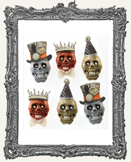 Glitter Skulls Dimensional Embellishments - 6 Pieces