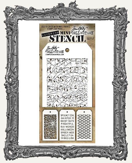 Tim Holtz Mini Layered Stencil Set - Shatter - Halloween - Batground