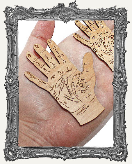 Palm Reading Hands Engraved Wood Cut Outs - Rounded Bottoms