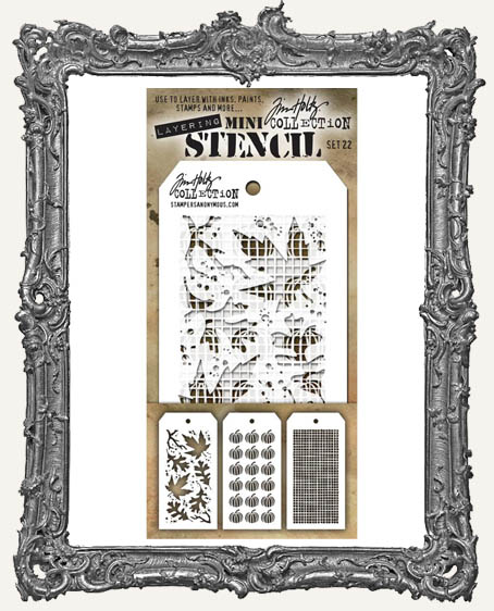 Tim Holtz Mini Layered Stencil Set - Autumn - Pumpkins - Linen